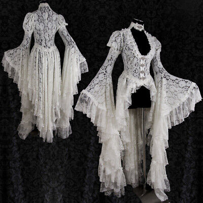 Victorian Women Steampunk V Neck Lace Irregular Hem Flare Sleeve Dress - Steampunk Women