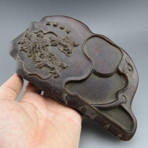 China,wood,collectibles,handicraft,wood carving, lion,ink stone B662