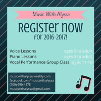 Voice & Piano Lessons in CBS!
