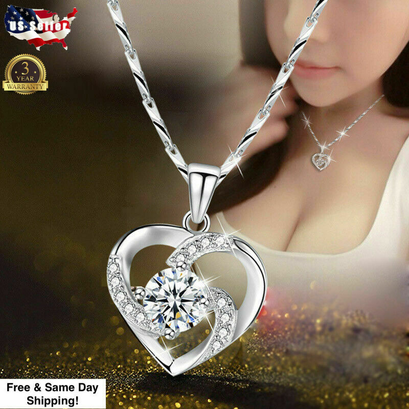 Gorgeous 925 Silver Necklace Pendant for Women Cubic Zircon Jewelry