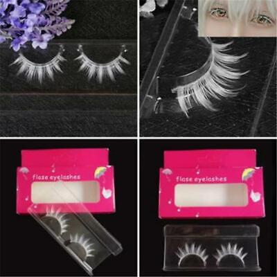 Women White Thick False Fake Eyelashes Lashes Makeup Extension Lashes O3 - White Eyelashes