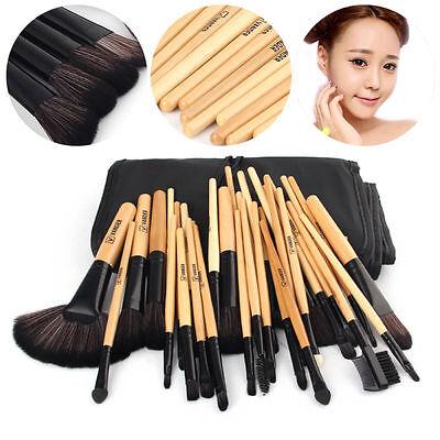 VANDER 32pcs Black Beauty Makeup Brushes Fashion Wooden Handle Brushes Set
