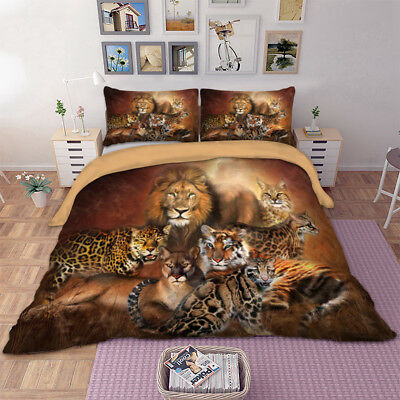 King Size Queen Size Duvet Cover - Animal Duvet Cover Set For Comforter Queen/King Size Bedding Set Tiger/Lion