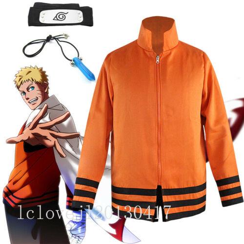 Cosplay Anime Naruto Seventh Hokage Hoodie Jacket CloakUzumaki Halloween Costume