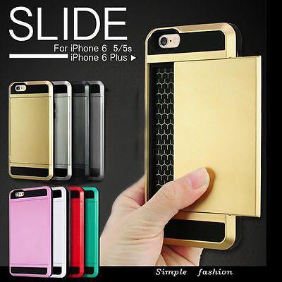 """Card pocket ShockProof Slim Hybrid wallet case cover for iPhone 6 4.7 Plus 5.5 """""""