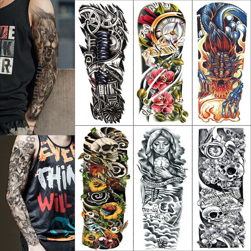 6 Sheet Temporary Tattoo Stickers Waterproof Arm Body Art Fake Colorful Tattoos Health & Beauty