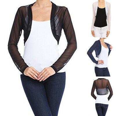 Sleeve Open Shrug - Womens Sheer Mesh Long Sleeve See Through Bolero Shrug Open Front Cropped Jacket