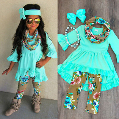 Boutique Toddler Kids Baby Girl Flower Top Dress Pants Legging Outfit Clothes - Babies Boutique Clothing