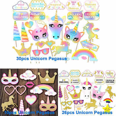Rainbow Unicorn Pegasus Photo Booth Props Wedding Birthday Selfie Party - Birthday Props