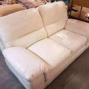 Bonded Leather White Loveseat