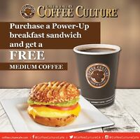 Free Coffee with Power-Up Breakfast Bagel at Coffee Culture Cafe