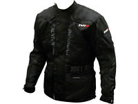 Tuzo Adventures black motorcycle jacket waterproof windproof 40 Small