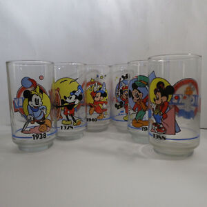Complete Set of 6 Mickey Mouse Glasses Sunoco Canada 1928 - 1988 Kitchener / Waterloo Kitchener Area image 1