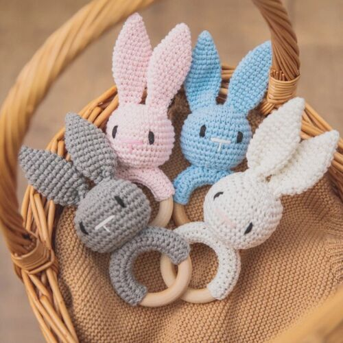 Wooden Crochet Ring Baby Teether Animal Rattle Chewing Nursing Soother Newborn
