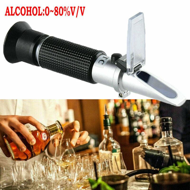 Handheld 0-80% Alcohol Test Refractometer Wine Beer Professional Detector Meter