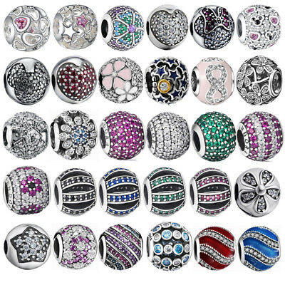 European Style Beads Round Crystals Charm For Sterling 925 Bracelet Silver (Crystal European Style Beads)