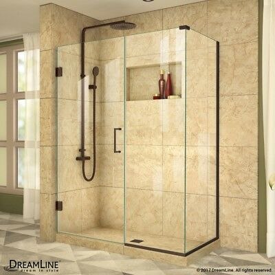 "UnidoorPlus 36"" x 48"" Shower Corral with Stationary Panel, 3/8"" Clear Glass"