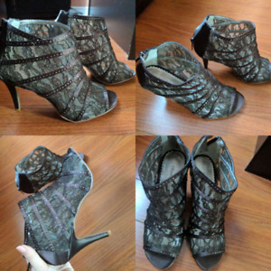 Brand New, brown gladiator peep-toe heeled shoes, size 8M, $35