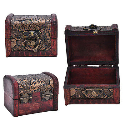 Wooden Vintage Treasure Chest Wood Jewellery Storage Box Case Organiser Ring XR - Wooden Treasure Chest Box