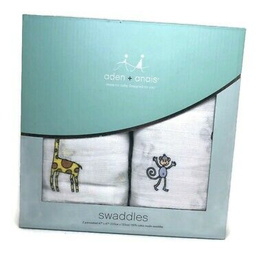 "Aden & Anais Swaddles Two 47""x47"" Muslin Swaddles - Monkey Giraffe"