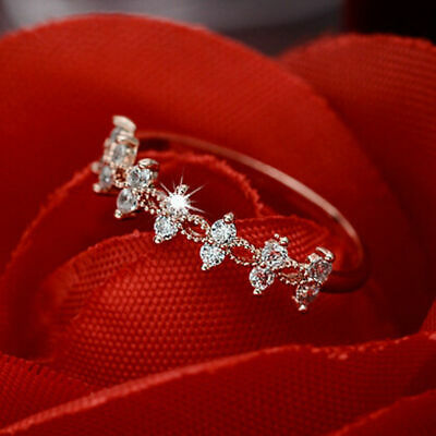 Women Jewelry Titanium Stainless Steel Crystal Rhinestone Wedding Band Ring Gift