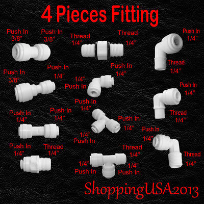 Filter Connector - 4 Pcs Water Filter Connector Fitting Quick Connect Thread Push In 1/4