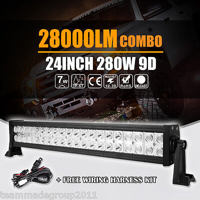 "24""INCH 280W CREE LED WORK LIGHT BAR SPOT FLOOD BEAM DRIVING CAR TRACTOR 22"" 20"""