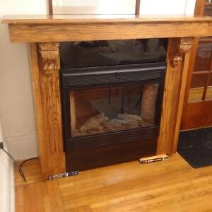 Electric Fireplace Solid Oak and black granite mantle Kingston Kingston Area image 1