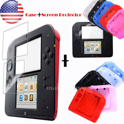 Soft Silicone Rubber Skin Case Cover Set fr Nintendo 2DS Kit + Screen Protector