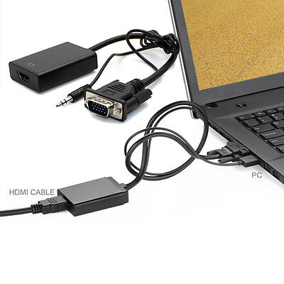 VGA To HDMI Output 1080P Full HD +Audio TV AV HDTV Video Cable Converter Adapter on Rummage