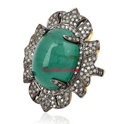 INSPIRED VINTAGE 925 SILVER ANTIQUE ROSE CUT DIAMOND 2.32ct EMERALD WEDDING RING