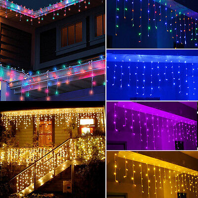 96~672 LED Hanging Icicle Curtain String Light Outdoor Fairy Xmas Party Wedding (Led Hanging Lights)