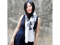 DAYMISFURRY--Rex Rabbit Fur Knitted Scarf In White And Black