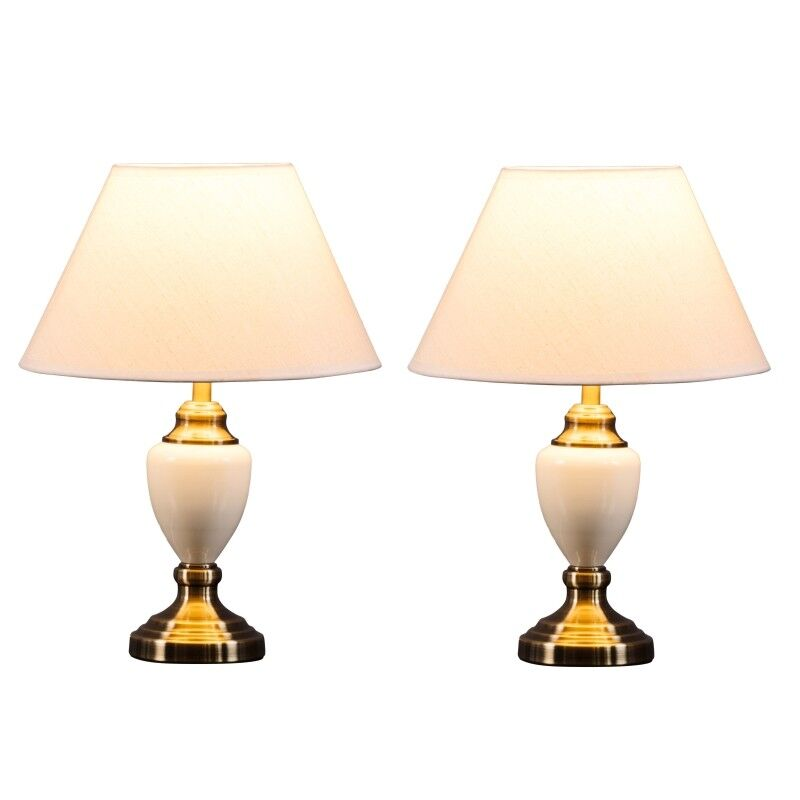 Details about Pair Of Malham Cream Ceramic Traditional Bedside Table Lamps & Shades 2 Pack