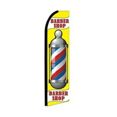 Barber Shop Pole Swooper Half Curve Advertising Premium Wide Flag