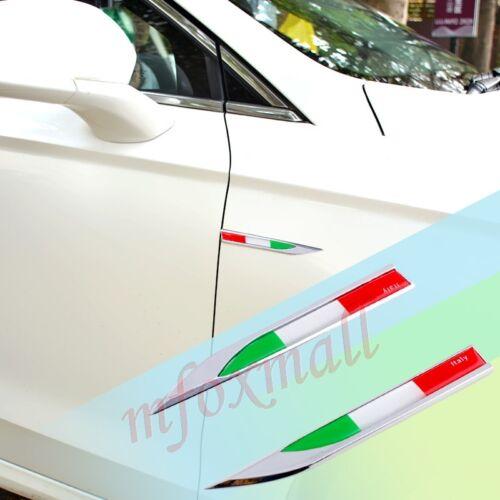 2PCS Vehicle Door Fender Trim Emblem Badge Symbol Sticker Decal Parts Italy Flag