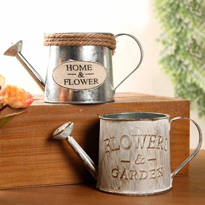 vintage bucket flower pot succulent home garden