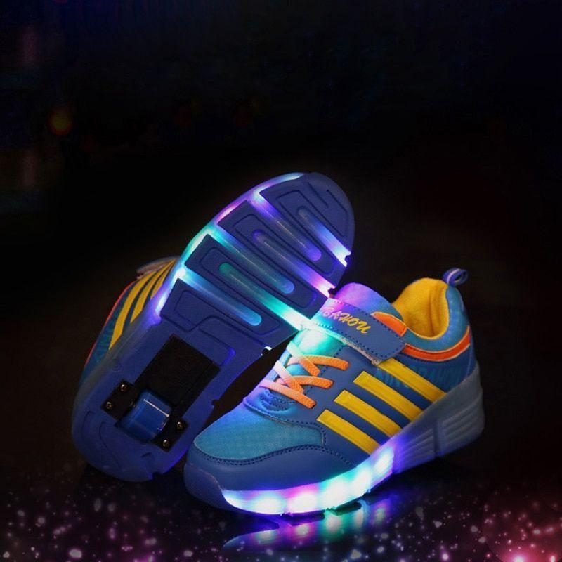 Children Glowing Sneakers Kids Roller Skate Shoes Girls Boys Sneaker ... e5a5e8e4da8e