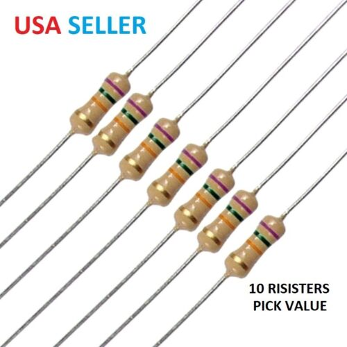 10 PIECES Resistor pick from 73 values -0 Ohm-5.6M Ohm with 5% 1/4W Carbon