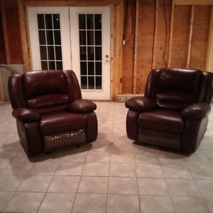 REDUCED - Two Matching Leather Recliners - Excellent Condition