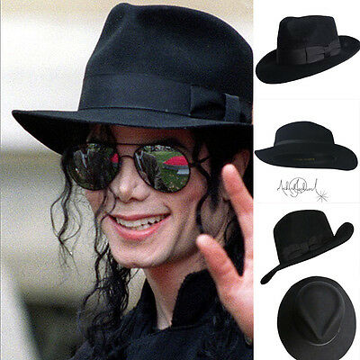 Michael Jackson Black Fedora (MJ Michael Jackson Billie Jean With Name Black FEDORA Wool Hat Trilby)