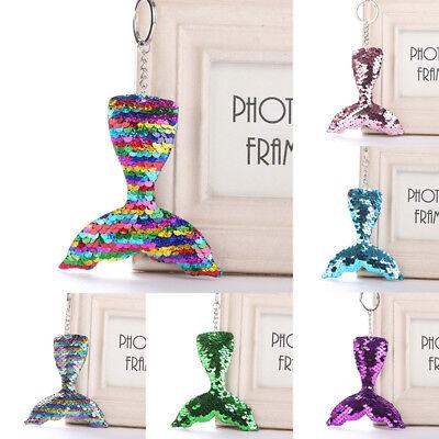 Shine Glitter Mermaid Tail Cute Key Ring Keyring Sequin Keychain Bag Pendant 1PC