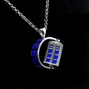 DOCTOR WHO DELUXE SPINNING 3D TARDIS CHARM NECKLACE W/CHAIN  *NEW* RARE SALE!!!