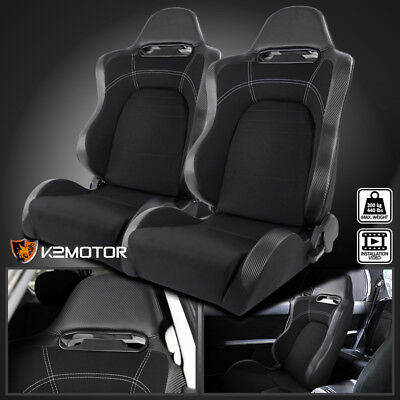 - [Driver+Passenger] Reclinable Carbon Style Gray/Black Racing Seats w/Sliders