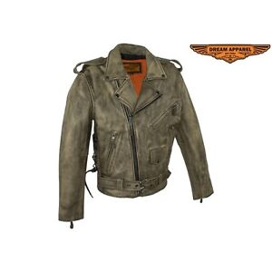 Mens Distressed Brown Leather Motorcycle Jacket With Black Leath