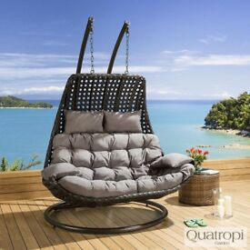 Outdoor Rattan 2 Person Garden Hanging Chair / Sunbed Black / Grey - NEW