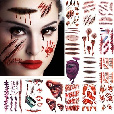Halloween Zombie Scars 3D Tattoos Fake Scab Blood Costume Party Makeup Stickers