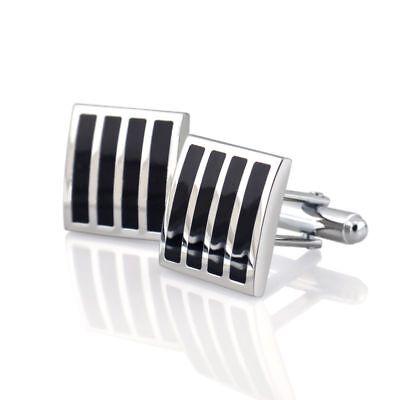 Black Silver Square Mens Dress Wedding Party Gift Stripe Cuff Links Cufflinks