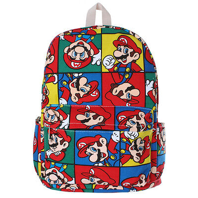 1x Super Mario Bag Colorful Printed Backpack Student Kid Schoolbag Rucksack Bag