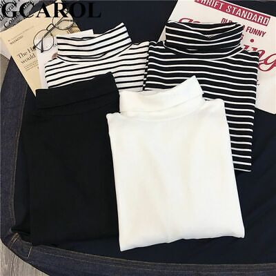 Turtleneck Striped Full Sleeve Pullover T-shirt Stretch Tops Basic Drop Shoulder - Full Sleeve Top
